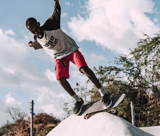 Jamaican skateboarder at Freedom Skatepark